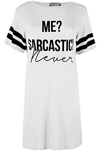 Ladies PJ Shirt Womens Me Sarcastic Never Oversized Top Baggy Tunic Night Dress -