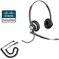 Linksys Cisco SPA Compatible Plantronics EncorePro 720 HW720 VoIP Direct Connect Headset Bundle - SPA Series Cisco 303, 501G, 502G, 504G, 508G, 509G, 512G, 514G, 525G, 525G2, 921, 922, 941, 942, 962