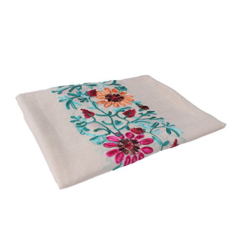 Vankerful Bright Colorful Embroidered Floral Shawl Wraps-Soft Cotton Long Scarves for Women Fall (Cotton Embroidered Wrap)