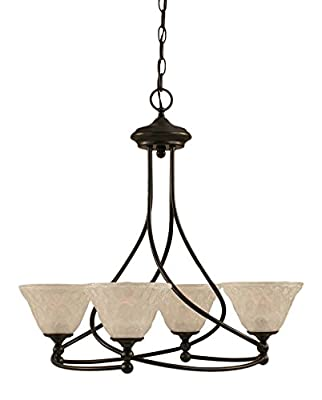 "Toltec Lighting 904-DG-451 Capri 4 Light Chandelier with 7"" Italian Bubble Glass, Dark Granite Finish"