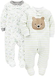 Simple Joys by Carter's Baby Neutral 2-Pack Cotton Footed Sleep and Play, Bear/Tur