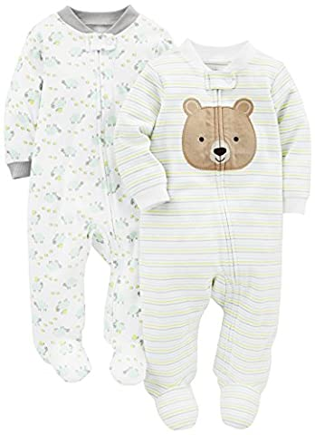 Simple Joys by Carter's Baby 2-Pack Cotton Footed Sleep and Play, Bear/Turtle, 6-9 Months - Baby Boy Pajamas