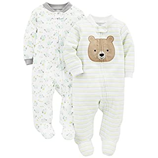 Simple Joys by Carter's Baby Neutral 2-Pack Cotton Footed Sleep and Play, Bear/Turtle, 3-6 Months