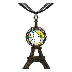Chicforest Bronze Retro Style Religion Peace On Earth Eiffel Pendant