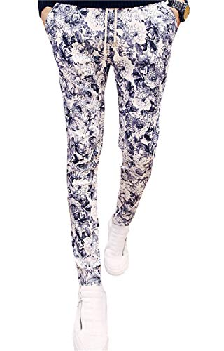 Men's Pants, Flower Print Tapered Slim Fit Trousers Floral Pants with Drawstring, Floral, US 28 = Tag M