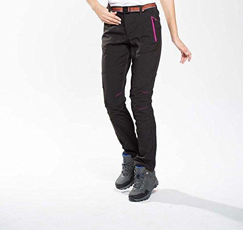 Snow Hiking Pants Womens Windproof Waterproof Womens Softshell Pants 1608 Black Medium (Black Snow Fleece)