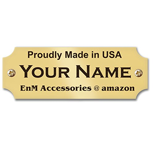 """0.875"""" H x 2.5"""" W, Solid Brass Name Plate, Satin Gold Finish Custom Name Plate Tag Personalized Engraved Black Text, Made in USA"""