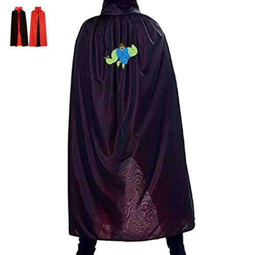Green Voodoo Monster Reversible Witch Cloak Cosplay Cape Costume Red Black Adult 4 Sizes Cowl