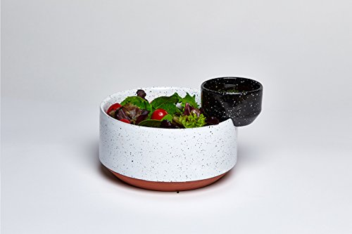 Modern Black And White Solar Lunar Eclipse Hand Painted Ceramic Salad Serving Dressing Bowls by doiy