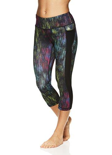 Nicole Miller Active Women's Persephone Printed Capri Leggings - Performance Activewear Workout Pants - Nikol Black, (Active Run Straight Pant)
