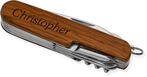 Multi-Purpose Tool Pocket Knife (Rosewood, KMP) Laser Engraved Christopher