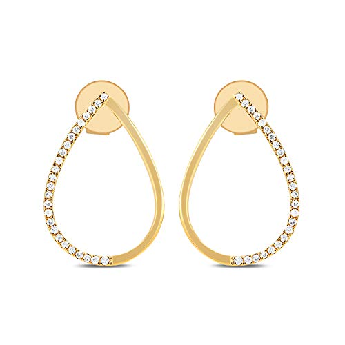 - DIAMOND COUTURE 14K Yellow Gold 0.10 Carat Diamond Teardrop Earrings for Women, Elliptical Hoop Earrings, I-J Color, I1-I2 Clarity