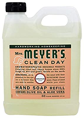 Mrs. Meyer's Clean Day Liquid Hand Soap Refill, 33 oz, Geranium,