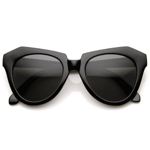 zeroUV - Modern Thick Cat Eye / Horn Rimmed Cross Sunglasses Edgy Retro Style Eyewear (Black-Gold Smoke) (Sunglasses Karen)