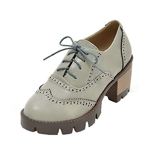 Delle A Pompe Round Grigio Alti Pu scarpe Stringate Tacchi toe Scacchi Weipoot Donne qREqS