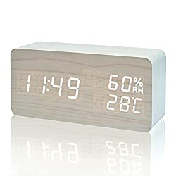 Xianan LED Wood Alarm Clock Modern Desk Clock Small Floor Clock Date / Temperature / Humidity Display Digital Alarm Clock (White-white)