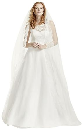 Petite Wedding Dresses.Petite Wedding Dress With Illusion Lace Neckline Style 7wg3711