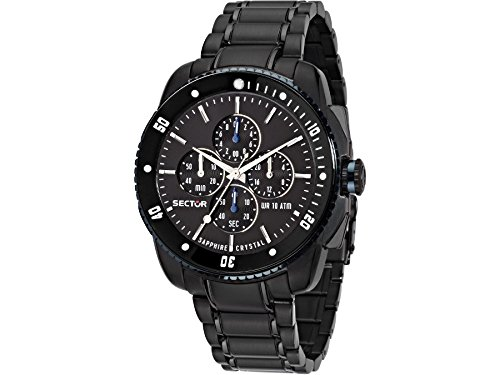 Sector Men's 45mm Black IP Steel Bracelet & Case Sapphire Crystal Quartz Analog Watch 3273903001