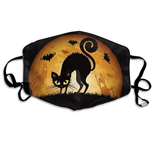 Black Cat Halloween Printed Mouth Masks Unisex Anti-dust Masks Reusable Face Mask -