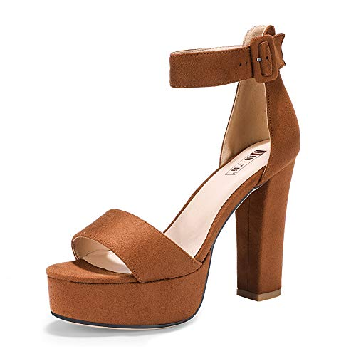 IDIFU Women's IN5 Sabrina Ankle Strap Platform High Chunky Heels Party Sandal (8.5 M US, Tan ()