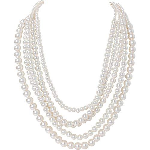 Humble Chic Simulated Pearl Necklace - Long Multi-Layer Strand Faux Round Bead Statement Bib, White, Gold-Tone ()