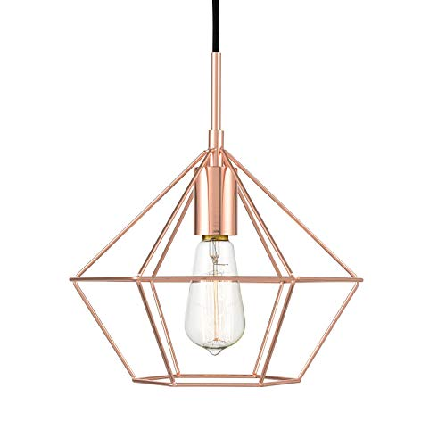Light Copper Pendant (Light Society Verity Geometric Pendant Light, Rose Gold, Modern Industrial Lighting Fixture (LS-C179-CPR))