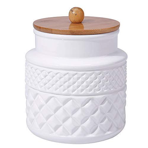 Ceramic Food Storage Jar with Airtight Seal Wooden Lid - Modern Design White Ceramic Kitchen Canister for Serving Tea, Coffee, Spice, Sugar, Salt and ()