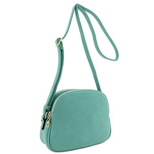 Double Zip Half Moon Crossbody Bag Dark Mint