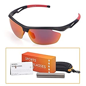 M-Better Polarized Sports Sunglasses, 100% UV Protection Unbreakable, Full Mirror Coating, Nano Anti-fingerprint Lens, for Running Cycling Golfing Baseball Fishing and Outdoor Activity(Red)