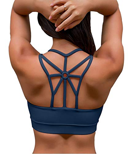 YIANNA Women's Padded Sports Bra Cross Back Medium Support Wirefree Strappy Workout Activewear Running Yoga Bra Teal,YA-BRA139-Teal-M