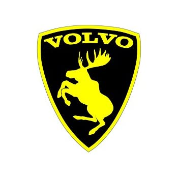 Volvo prancing moose sticker black background yellow moose 3 inch