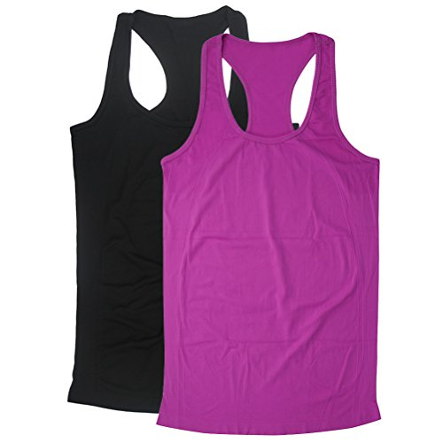 Tank Top Juniors, BollyQueena Women's Sports Racer-back 2 Packs Workout Tanks For Women Multicoloured XL (Team Womens Tank Racer)