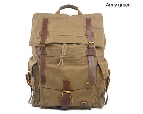 Retro Leinwand Tourismus Rucksack Bulk Schultasche Leichte Schultertasche Daypack ArmyGreen dw9bIw