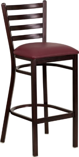 Flash Furniture HERCULES Series Walnut Woodgrain Ladder Back Metal Restaurant Bar Stool with Burgundy Vinyl Seat