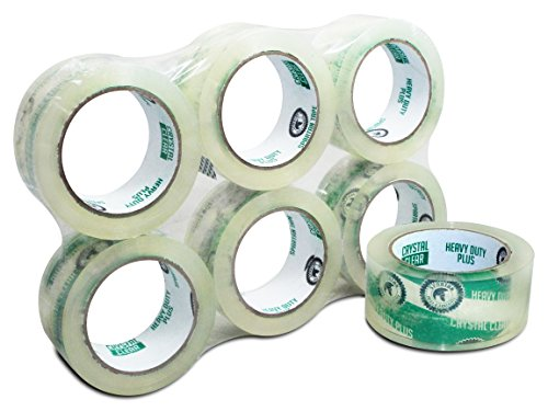 Spartan Heavy Duty Plus ( 3.1 Mil ) Crystal Clear Packaging Tape, 1.88 Inch X 60 Yards ( 10% More Tape ) 6 Pack, High Performance Packing Tape for Moving, Shipping, Sealing Boxes