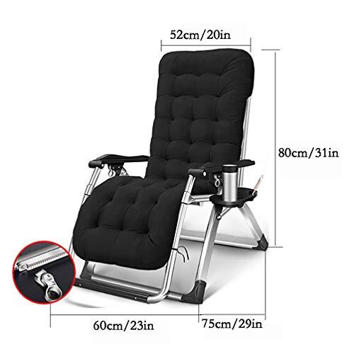 Stoppad Zero Gravity Lounge Chair, patio Lounge Chair utomhus, ställbar kontorsliggstol för strandträdgården med dryckeshållare och huvudstöd