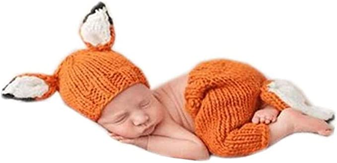 Cute Fox Newborn Baby Handmade Knit Costume Photo Photography Prop Outfits Gift