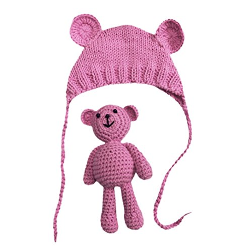 [Suit for 0-6 Months Baby,DIGOOD Newborn Stretchy Knit Photo Baby Hat+Trousers Costume Photography Props (Hot Pink)] (Turban And Beard Costume)