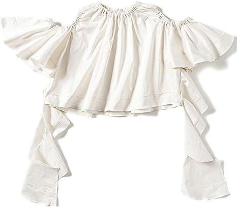 SETGVFG Camisa con Cordones para Mujer Ruffles Ahueca hacia Fuera La Manga Acampanada Blusa Blanca Corta Mujer Verano Nueva Ropa: Amazon.es: Deportes y aire libre