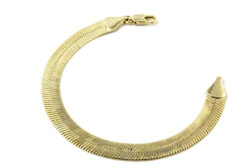 Stainless Steel 9mm Herringbone Bracelet (Gold Plated) - 1
