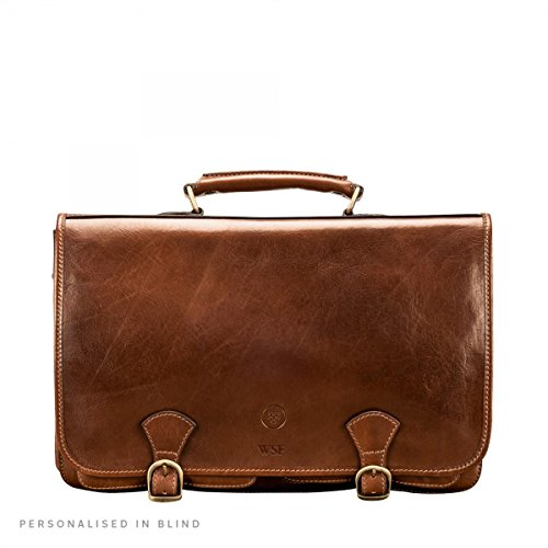 (Maxwell Scott Personalized Luxury Tan Leather Satchel for Men (The Jesolo2) - One Size)