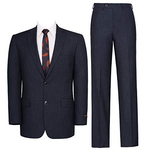 P&L Men's Two-Piece Classic Fit Single Breasted Suit Blazer Tux & Flat Front Trousers - Two Trouser Suit Piece