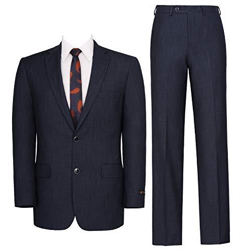 P&L Men's Two-Piece Classic Fit Single Breasted Suit Blazer Tux & Flat Front Trousers Blue