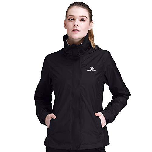 CAMEL CROWN Womens Waterproof Rain Jacket Hooded Windbreaker Windproof Rain Coat for Fall Outdoor Hiking