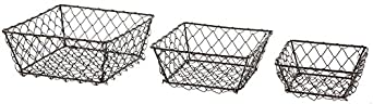 Park Hill Set Of 3 Square Wire Berry Baskets