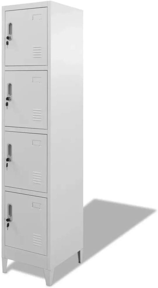 Cikonielf Armario Metálico con 4 Puertas con Cerradura 180 x 38 x 45 cm, Armario Alto con 4 taquillas para Gimnasio y Oficina: Amazon.es: Hogar