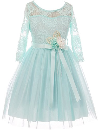 Girl Blue Floral Skirt (BluNight Collection Big Girls Elegant Rose Floral Lace Illusion Top Satin Belt Flower Girl Dress Aqua 10 (2J0K9S8))