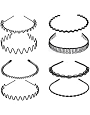 Metal Hair Hoop, Unisex Hair Band Hoop, Clips, Black Wavy Spring Hoop, Headwear Skapa Vacker utseende 8st