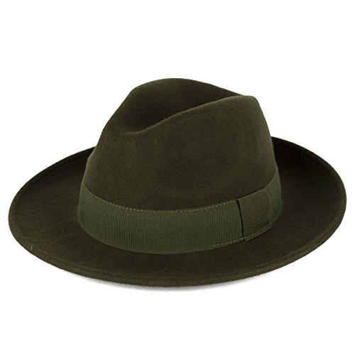 [Elegant Khaki 100% Wool Fedora Hat Waterproof & Crushable Handmade in Italy] (Elegant Khaki)