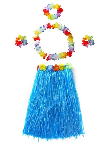 (CISMARK Adult Elastic Hawaiian Hula Dancer Grass Skirt (Blue 80 cm,5pcs/Set))